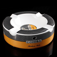 Cohiba High definition Bone China Ceramic Round Cigar Ashtray For Home Middle Size 4 Holder Smoking Ash Tray Cigars Accessories