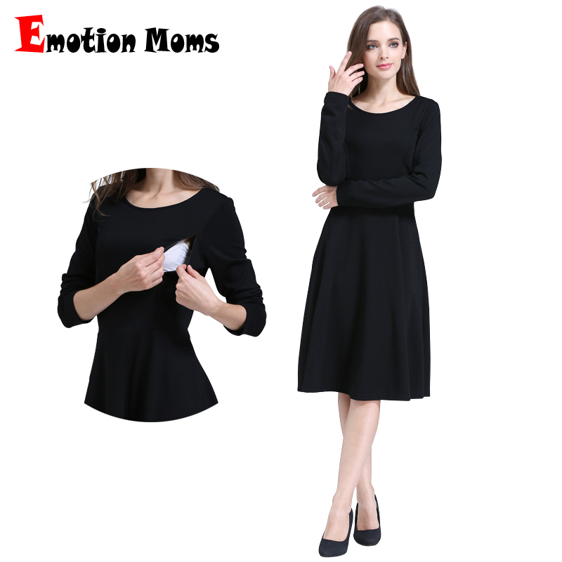 Emotion Moms Solid Long Sleeve Maternity Clothes Patchwork Nursing Breast feeding Dresses for Pregnant Women Long dress S M L XL все цены