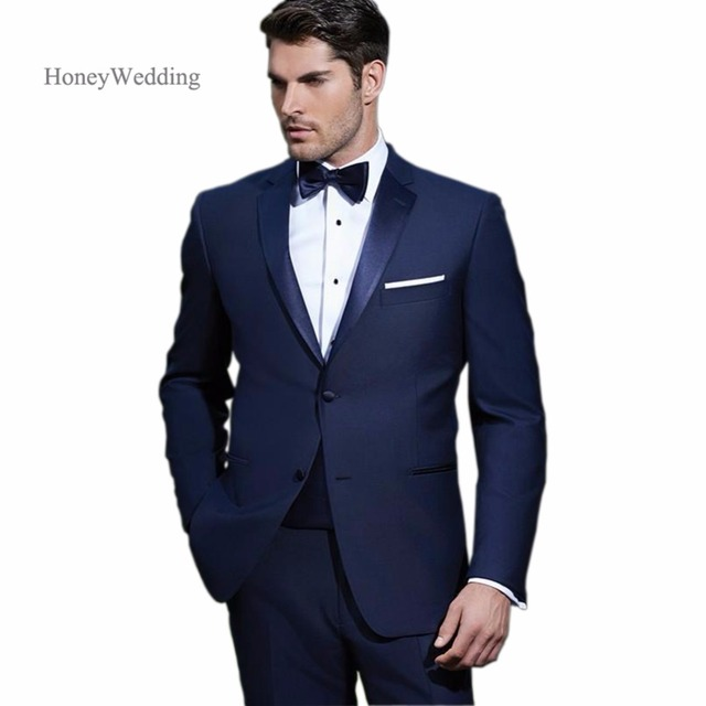 Groom Tuxedos 2018 New Navy Blue Mens Suits Wedding Party Groomsman ...