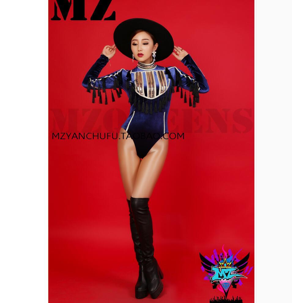 S-4XL dernières femmes DJ bleu brillant velours or Sequin combinaisons chanteuse scène costumes femmes vêtements body