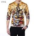 2016 homens de alta qualidade de moda de nova dragão bordado homens estilo chinês dos homens de Homme camisola confortável dos homens de lã fina camisola