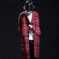 2016 Harajuku Fashion Winter Thick Warm Men Wool Overcoat Brand Clothing Long Pea Coat Red Plaid