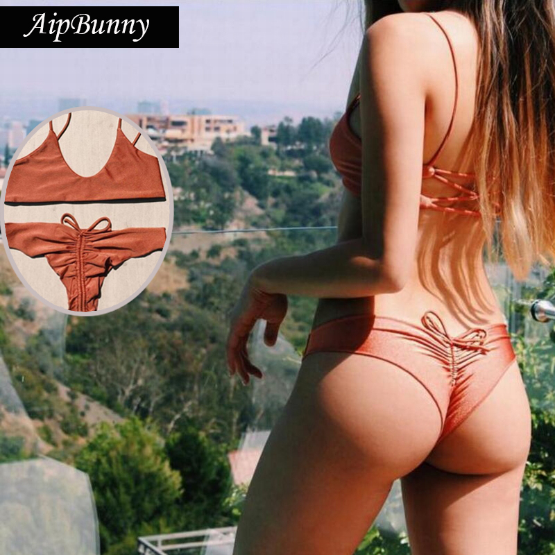Aipbunny Sexy 2018 Bandage Thong Brazilian Bikinis Set Swimwear Women Swiming Bathing Suit Beach Wear Biquinis Mujer Swimsuit