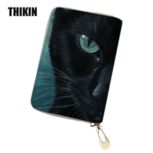 THIKIN Black Cat Print Women ID Card Holder 3d Animal Female Wallet for Credit Cards Passport Cover for Women Purse Coin Custom 3d fatty cat print coin purse