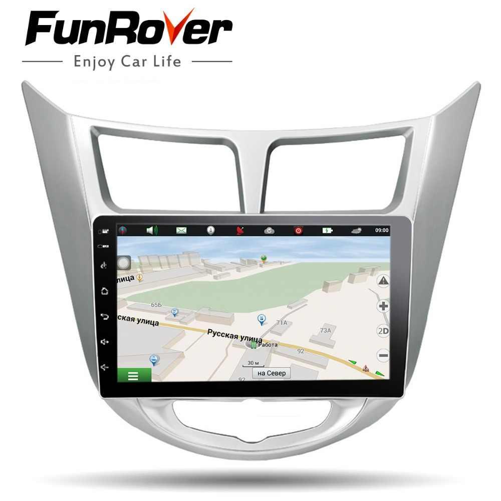 Funrover 2 DIN Android 8.0 Radio Đa Phương Tiện Video DVD Dành Cho Xe Hyundai Solaris Giọng Verna 2011-2016 Điều Hướng định Vị GPS RDS