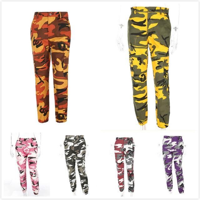 f0ed4103ef74b4 Purple Pink Camo Pant Orange Camouflage Pants Overall Women Sweatpants  Cargo Harem Pants Trousers Hip Hop Pantalon Femme Mujer