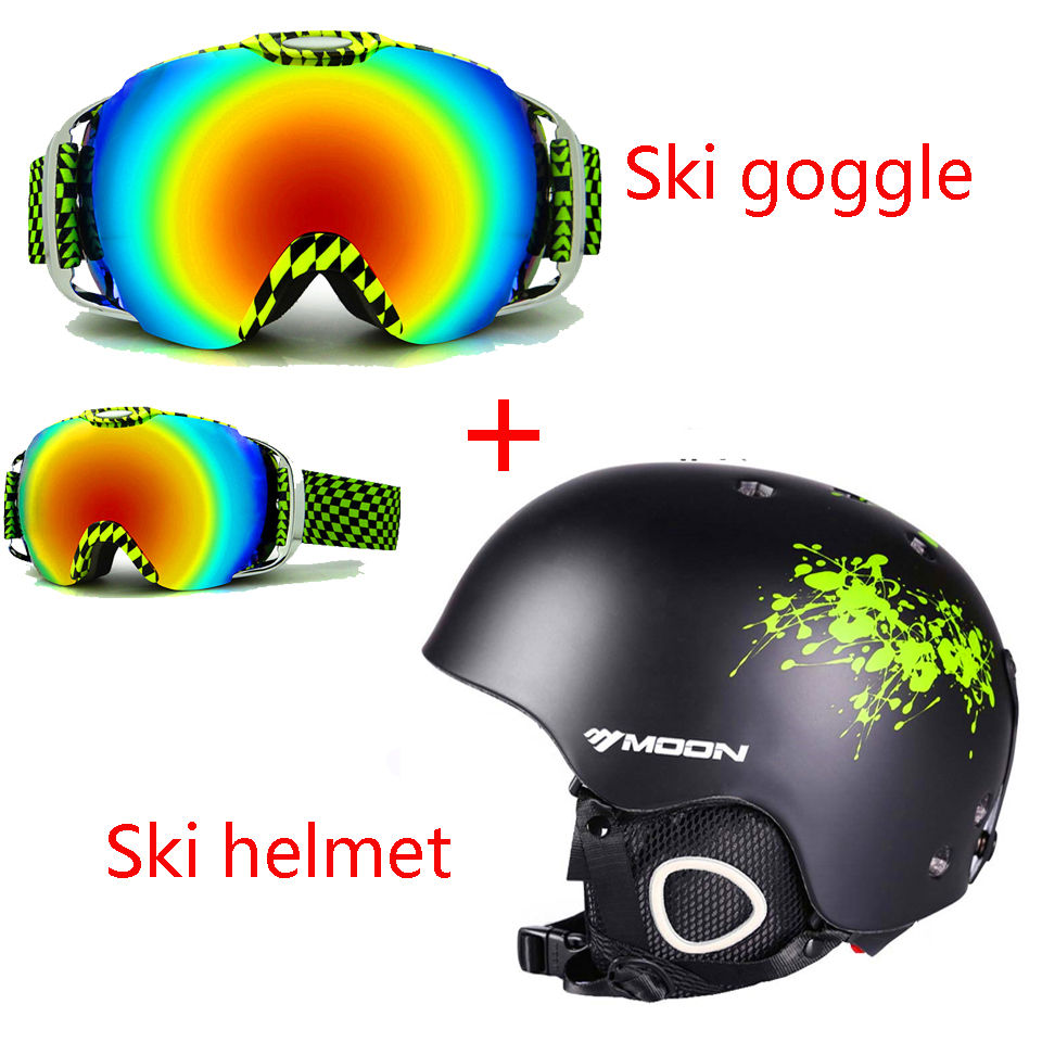 Moon Ski helmet+ double layer goggle  Integrally-molded ski skiing/Snowboard/Skate/Skateboard/Veneer Helmet +anti-fog ski goggle moon skiing helmet integrally molded pc eps ce certificate adult ski helmet outdoor sports snowboard skateboard helmet