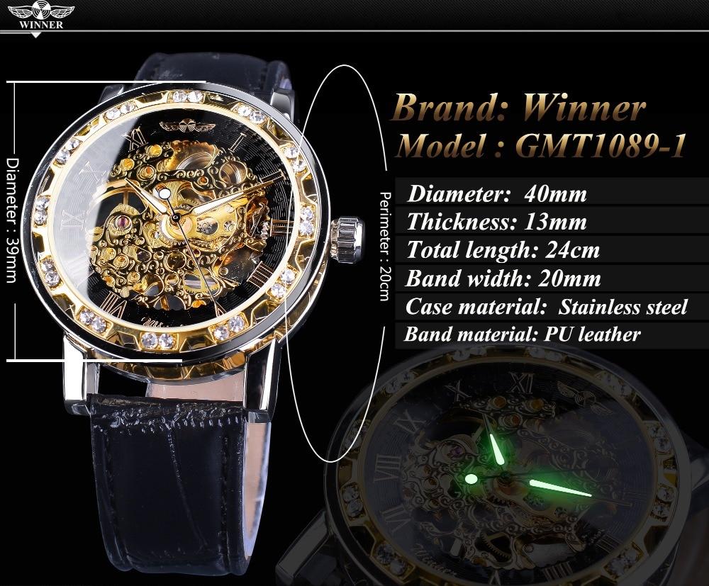 HTB1T.Dai8jTBKNjSZFNq6ysFXXaF Winner Black Golden Retro Luminous Hands Fashion Diamond Display Mens Mechanical Skeleton Wrist Watches Top Brand Luxury Clock