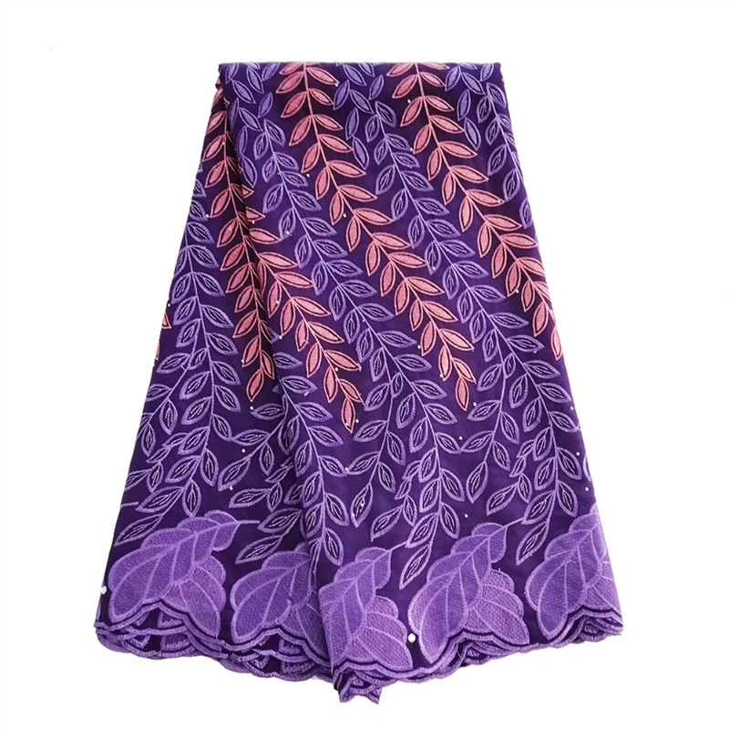 2019 African Cotton Swiss Voile Lace Fabric Purple High Quality With Stones Swiss Voile Lace In Switzerland African Lace Labric2019 African Cotton Swiss Voile Lace Fabric Purple High Quality With Stones Swiss Voile Lace In Switzerland African Lace Labric