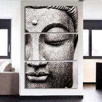 3 Panel Canvas Wall Art Gray Buddha Statue Face Painting Home Decoration Pictures For Living Room Posters Cuadro Decorativo