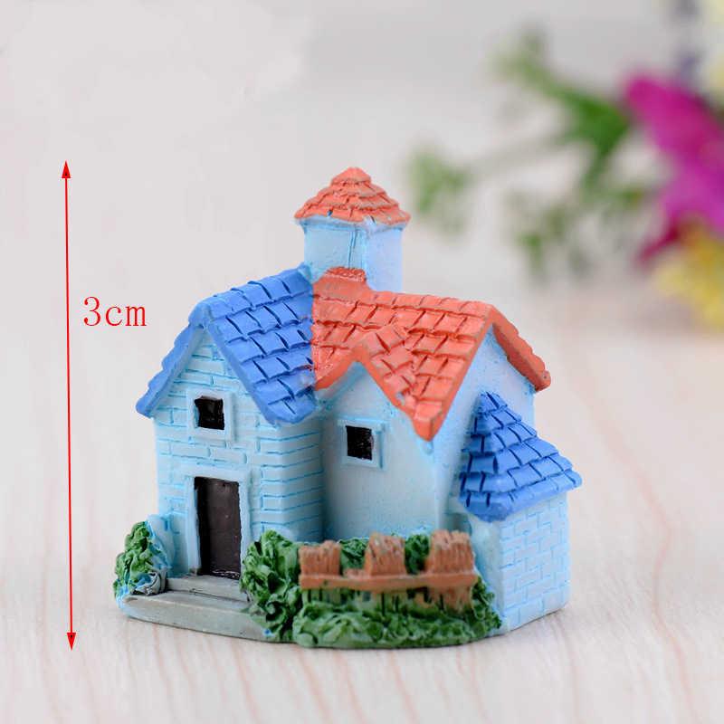 4pcs European Country House Miniature Garden Villa Resin Miniatures Fairy Garden Miniatures Terrarium Figurine Craft Accessories