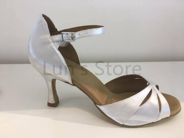 Satin Danse Salon Nouvelles Latine Chaussures Blanc De Dames qOcnvW6nU