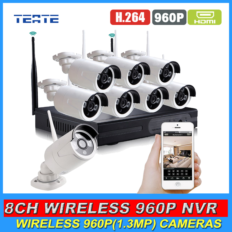Home 8CH CCTV System HD Wireless NVR 8pcs 960P 1.3MP Waterproof IP WIFI Camera Security Safety Kit 8channel