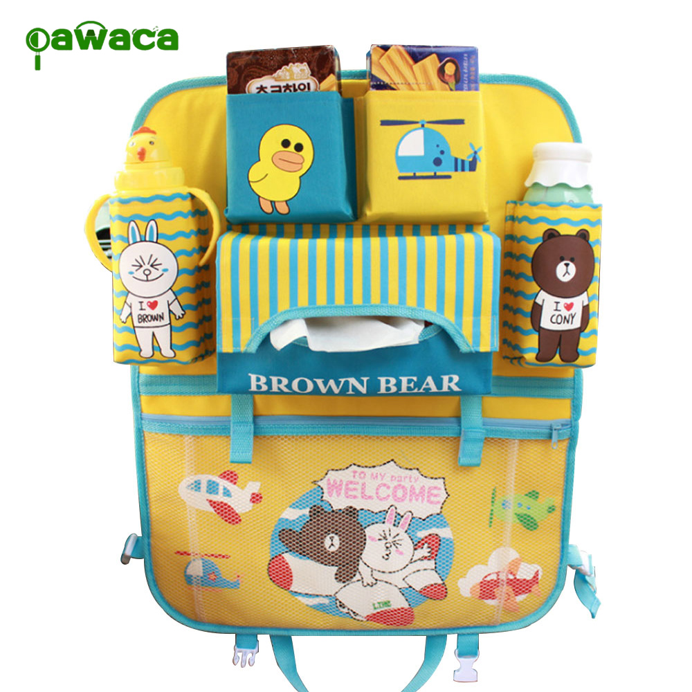 Pawaca Waterproof Car Seat Hanging Storage Bag Travel Foldable Car Backseat Organizer with IPad Tablet Cup Holder for Kids