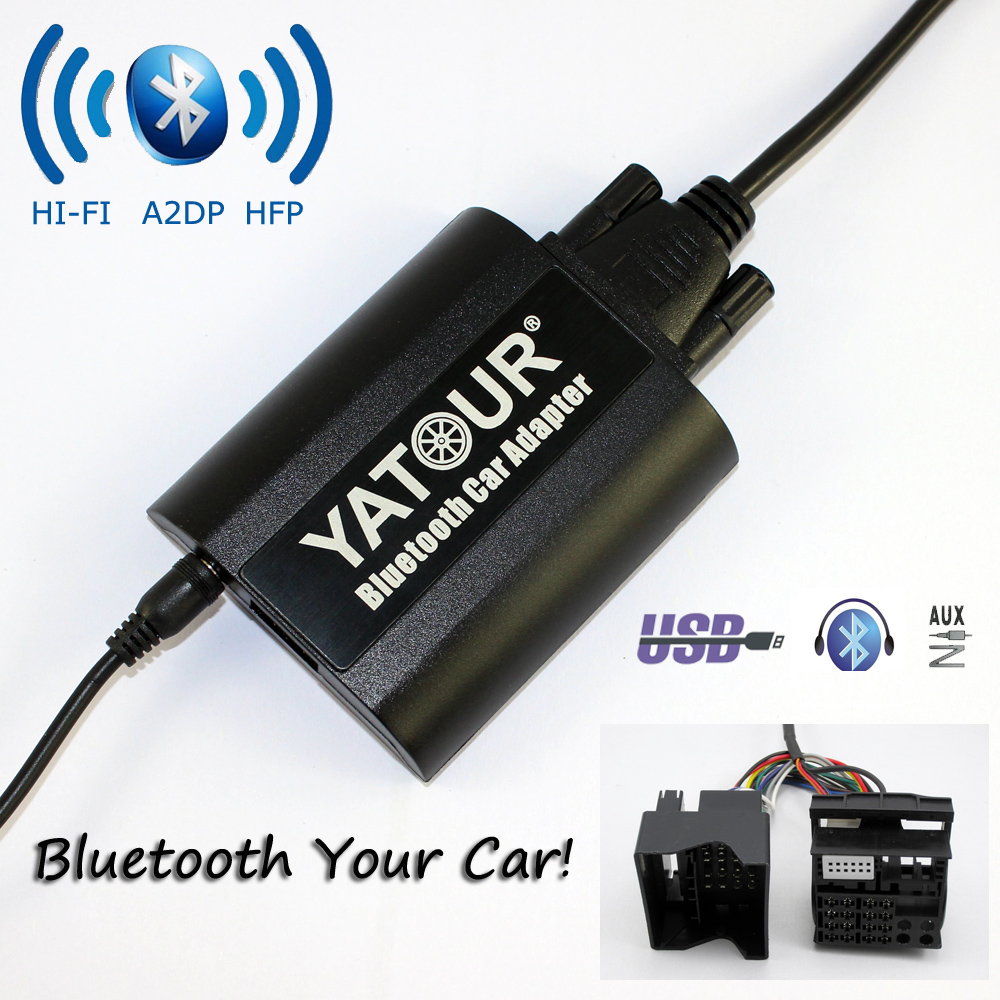 Yatour Bluetooth Car Adapter For Ford (Europe 2003-2010) quadlock 6000CD 6006CD 5000C YT-BTA AUX IN HI-FI A2DP USB charging port car usb sd aux adapter digital music changer mp3 converter for volkswagen beetle 2009 2011 fits select oem radios
