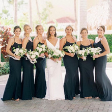New Arrival Navy Blue Simple Bridesmaid Dresses Mermaid Style Satin 2019  Cheap Wedding Guest Maid Of 59202efc4fe9