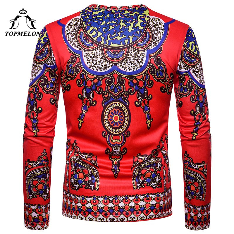TOPMELON Dashiki Mnes Cotton High Quality Men's Tops 3D Printed Floral T Shirts Long Sleeve African Clothes Plus Size