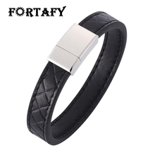 Trendy Mens Bracelets Black Brown Leather Bracelet Men Stainless Steel Magnetic Clasp Wristband Male Jewelry Punk Bangles HP500 classic men woman genuine leather bracelet tainless steel charm bracelets for male gift magnetic clasp punk wristband