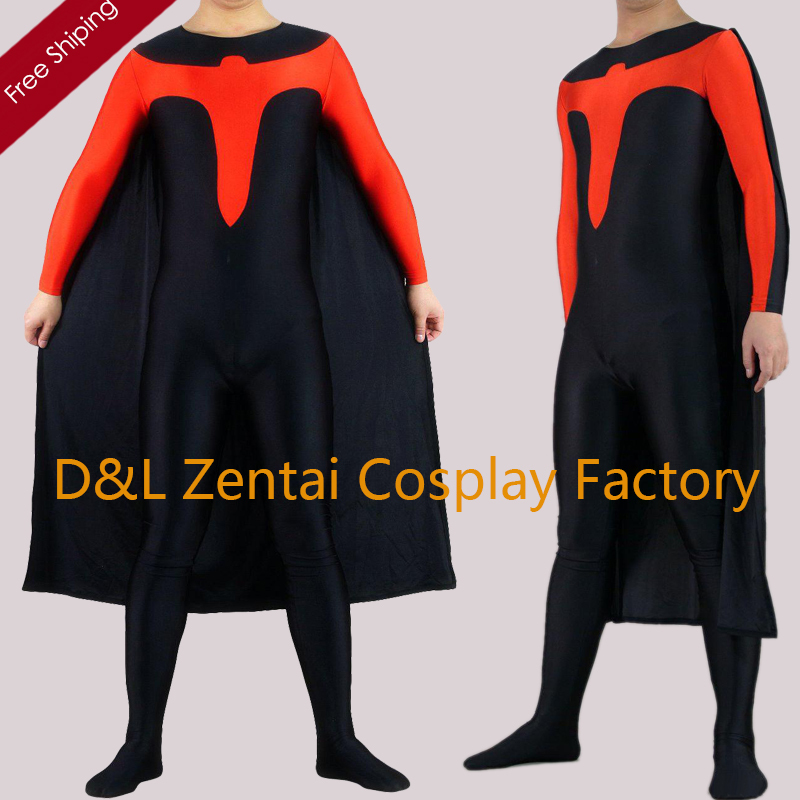 Free Shipping DHL Adult Black And Red Lycra Spandex Superhero Costume with Cape inspired by Nightwing Costume SH2303