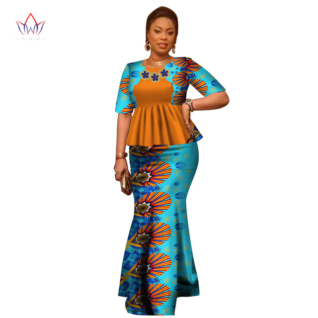 723048060bd94 Summer Women Dress Traditional African Traditional 2 Pieces Women Set  Clothing Custom Made Tops + Skirts Hot Sale BRW WY2666