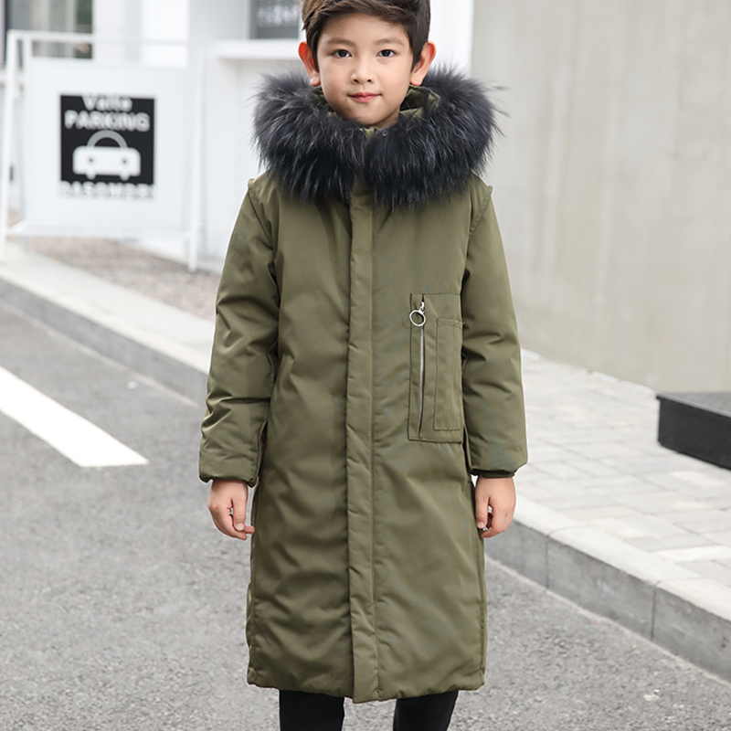 HSSCZL Boys Duck Down Jacket 2018 New Brand Winter Thicken Children Coat Outerwear Overcoat Hooded Natural Fur Collar 5-14A цена