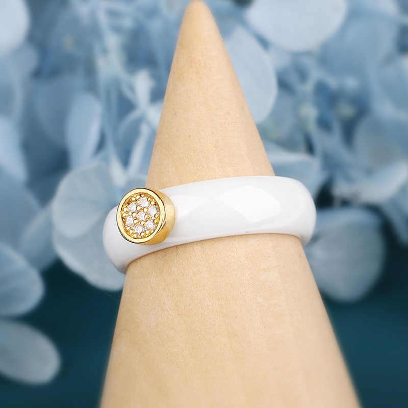 חדש 6mm קרמיקה טבעות בריא חלק קרמיקה קלאסי שחור לבן צבע עם הניצוץ קריסטל עגול זהב לנשים תכשיטים