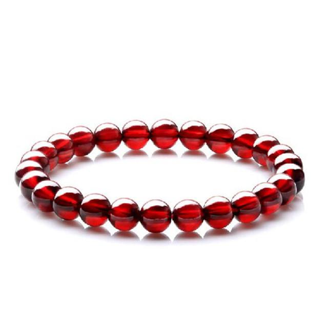 Frete Grátis 6mm Naturais Genuíno Vinho Vermelho Granada Cristal Rodada Claro Beads Estiramento Pulseiras Charme Para As Mulheres