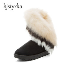 Kjstyrka Women Flat Mid-calf Snow Boots Fur Boots Winter Warm Snow Shoes Round-toe Female Flock Leather Women Shoes Black Pink