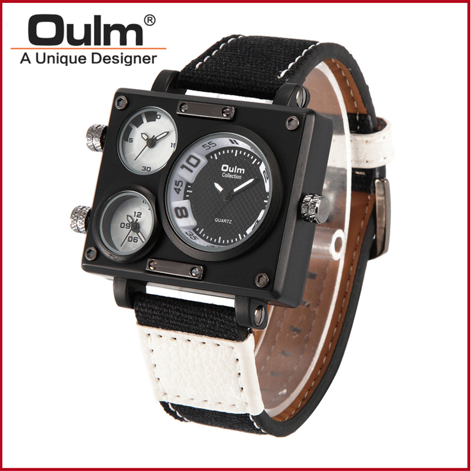 aliexpress com buy men s watches top brand luxury oulm 3595 aliexpress com buy men s watches top brand luxury oulm 3595 unique designer watches men fashion square big face 3 time zone casual quartz watch from