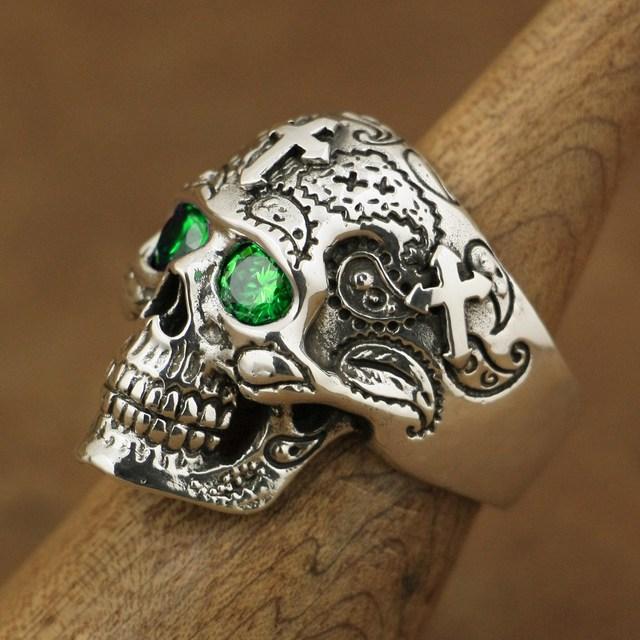 LINSION 925 Sterling Silver High Detail Skull Cross Green CZ Eyes Mens Biker Ring TA57 US Size 7~15