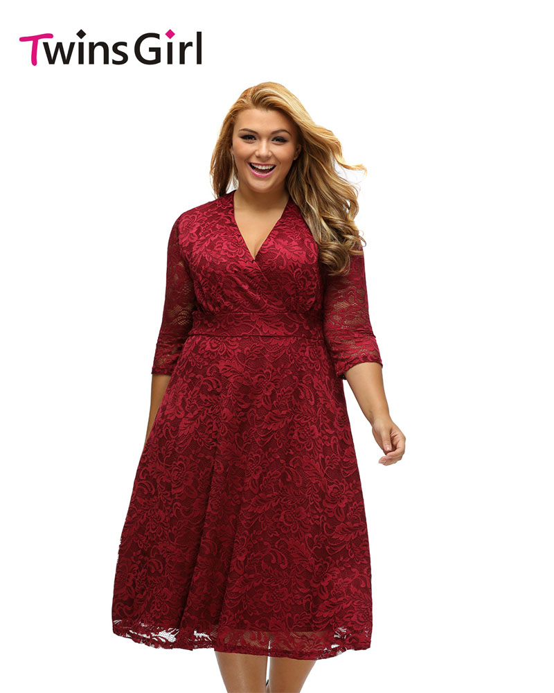 Online buy wholesale burgundy formal plus size dresses from china 2017 big girl spring party burgundy plus size dress surplice lace formal skater midi dress for ombrellifo Gallery