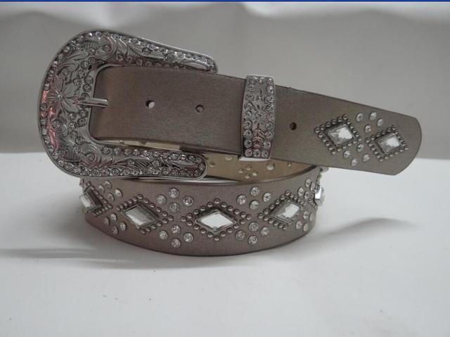 Padrão de geometria quadrado prata cravejado PU leatherflower peso leve strass cowgirl ocidental fivela de cinto das mulheres atraentes