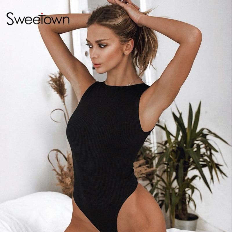 Sweetown siyah kapalı omuz tankı Bodysuit yaz 2020 yeni moda o-boyun Body kadın spor giyim temel Bodycon Bodysuits