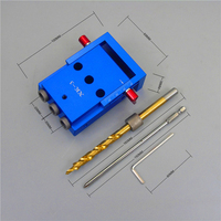 Pocket Three Holes Aluminium Alloy Oblique Hole Jig Kit System for Wood Working Punch Locator with 9.5mm Puncher