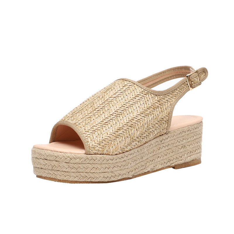 Litthing Summer Women Hemp Sandals Fashion Female Beach Shoes Wedge Heels Shoes Comfortable Platform Shoes #New(China)