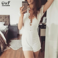 Dotfashion Lace Bodice Cuffed Playsuit V Neck Short Sleeve With Lining Playsuit For Women 2017 Summer Style Sexy Romper