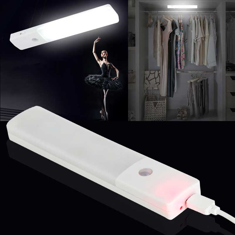 Mini Ultra-thin USB Closet Light 6 LED Motion Detector abinet Wardrobe Lamp with Battery 150lm ALI88