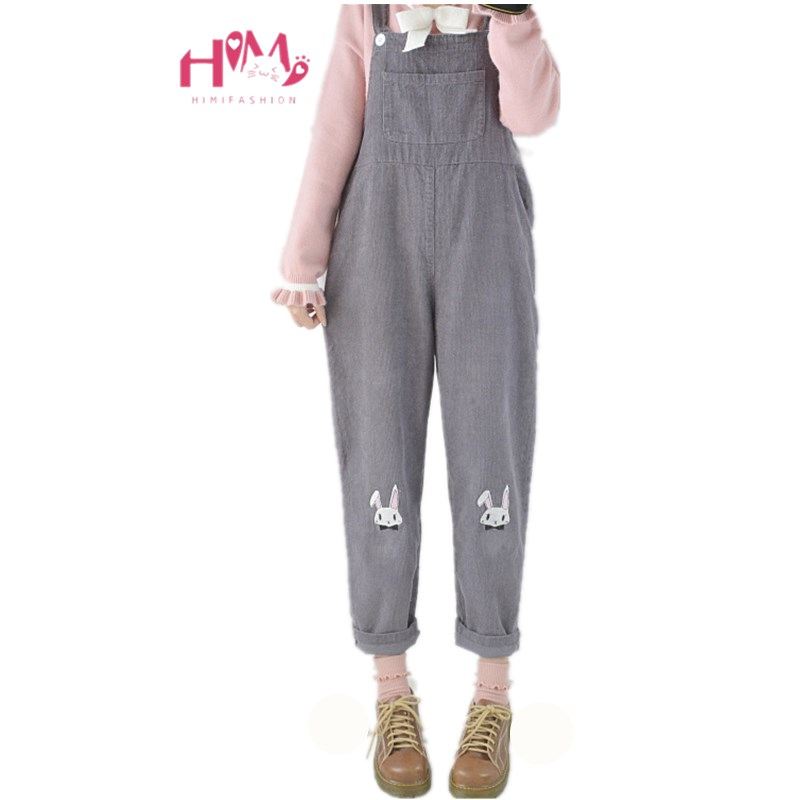 Japanese Vintage Womens Cute Corduroy   Jumpsuit   Rabbit Embroidery Rompers Gray Overalls Pants Mori Girl's Suspenders Trousers