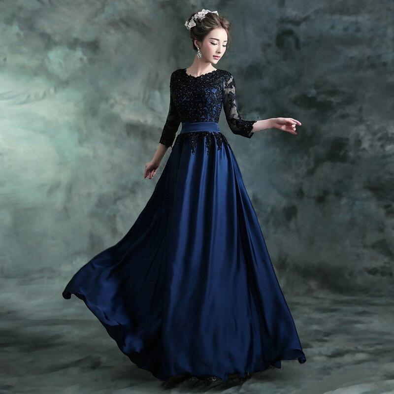 2017 Longue Robe De Soirée Bleu avec Noir A-ligne Dentelle Broderie 3/4 À Manches Longues Banquet Mère de La Mariée Robes Robe De soirée - 3