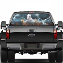 Car Rear Window Sticker White Horse Galloping Pattern Perforated Vinyl For Truck SUV 22