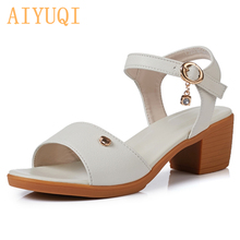 AIYUQI  womens summer sandals, with heel 2018 genuine leather Roman Sandals , luxury brand big siz 41 42 43 shoes women
