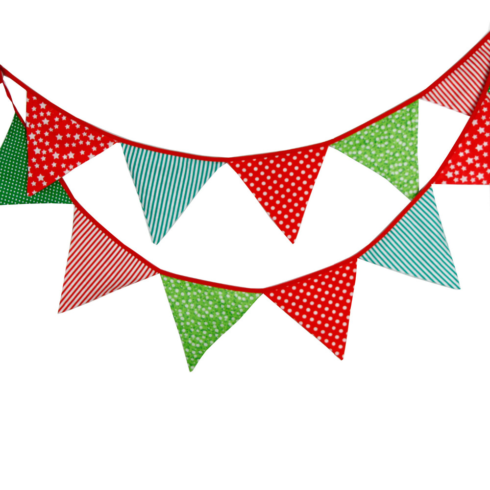 3.2M 12flags Christmas Decoration Fabric Bunting Birthday Party ...