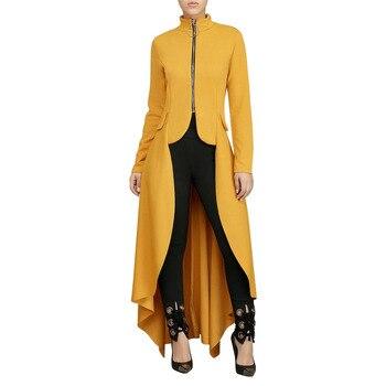 Jyccr Women Zipper Long Sleeve Plus Size Dress Maxi Tunic Loose Ladies Autumn Stylish Elegant Long Sleeve High Low Tunic AM0285