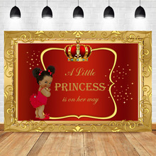 NeoBack Royal Prince Baby Shower Photography Backdrops Black Skin Girl Gold Crown Backdrop Little Princess Red Background