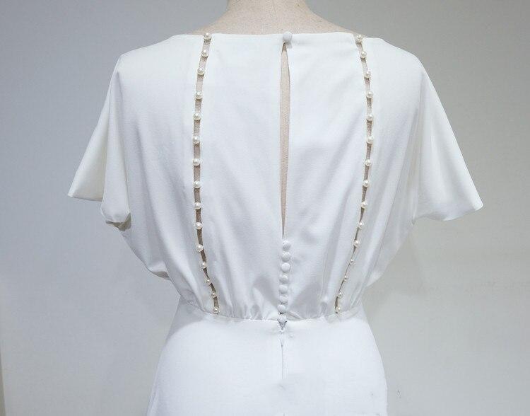 COLOREE élégant blanc femmes robe Midi 2019 Sexy évider perle dos nu mince à manches courtes robe de soirée - 5