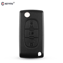 KEYYOU 3 Buttons Flip Folding Remote Fob Car Key Shell Cover For Peugeot 207 406 307 308 408 107 Key Case VA2/HU83 Blade