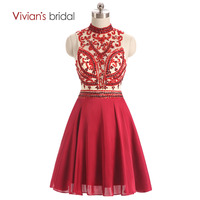 Vivian's Bridal Crystal Beading Red Chiffon 8th Grade Prom Dresses Halter Sleeveless A Line Homecoming Dresses