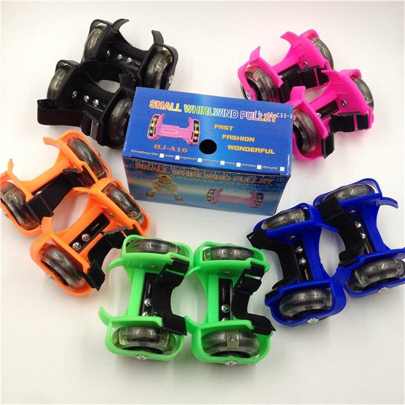 Crianças Roda Salto Sapatas Do Patim De Rolo LEVOU Luz Intermitente Ajustável Rodas Quentes Do Esporte Colorido Pequeno Polia Turbilhão Cinta IA32