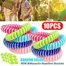 Mayitr 10pcs Mosquito Repellent Bracelets Anti Insect Wrist Hair Band + Patch For Outdoor Camping/Traveling