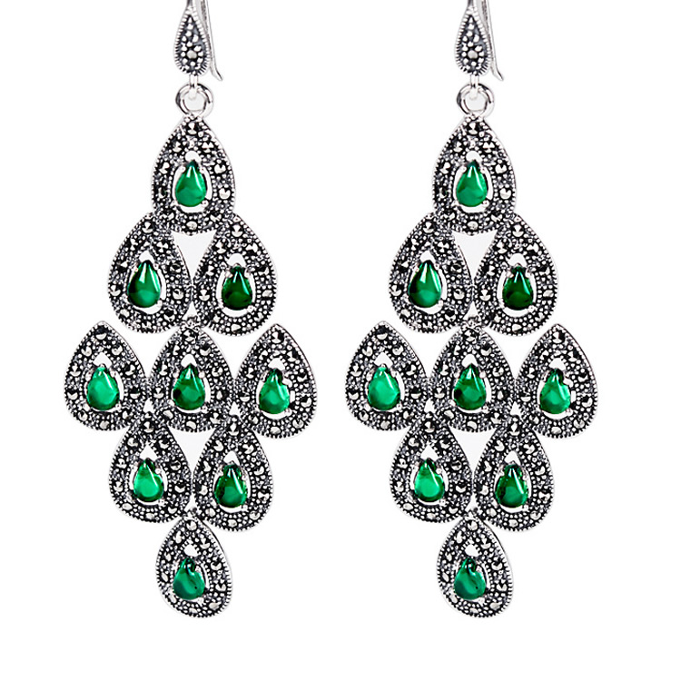 New Pure 925 Sterling Silver with Green  Peacock Dangle Earrings New Pure 925 Sterling Silver with Green  Peacock Dangle Earrings